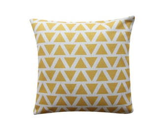 "Yellow Triangles Pillow Cover, Geometric Cushion, 18"" x 18"" Decorative Pillow Cover Throw Pillow Couch Sofa Cushion Accent Pillow 163"