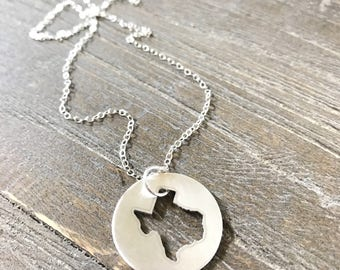 Texas Charm Necklace | State of Texas Necklace | Texas Pendant | Texas Necklace | Texas Pride Necklace in Sterling Silver and Gold Fill