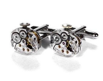 Steampunk Jewelry Mens Cufflinks Vintage LONGINES Ruby Watch Cuff Links Anniversary Wedding, Groom, Fathers Day Gift - by Steampunk Boutique