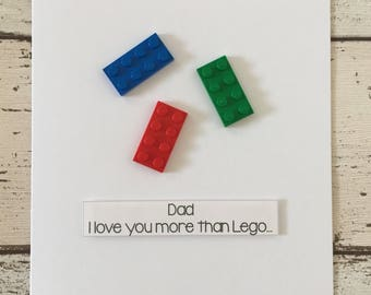 Personalised Lego Birthday Card 'Dad I love you more than Lego'