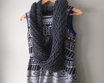 Gray Infinity Scarf / Crochet Scarf / Gray Knit Scarf / Titanium Gray / Gray Cowl / Gray Scarf / Made in USA / Oversized Scarf