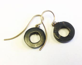 Antique, Victorian, Whitby jet, mourning earrings.