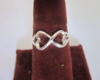 Vintage Sterling Silver Double Heart Statement Ring