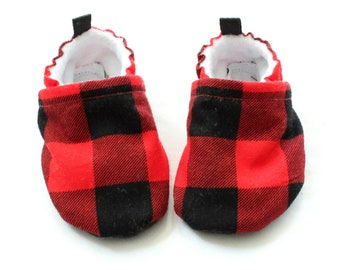 red plaid buffalo soft sole baby booties, baby boots, baby shoes boys girls - baby shoes, Soft Sole, - great gift idea!