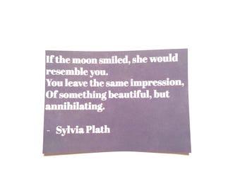 Sylvia Plath Quote Sticker