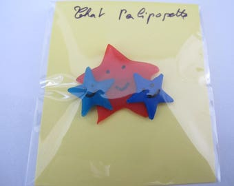 Red and Blue Star trio brooch