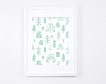 Mint and White Nursery Wall Art, Minimalist Art Print Download, Scandinavian Nursery Decor, Mint Baby Room Art Printable, Nordic Art