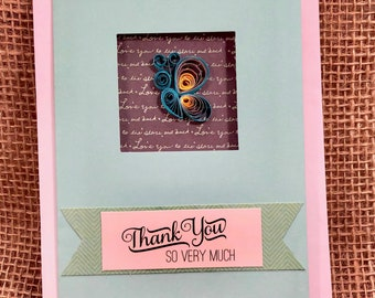 Thank You Butterfly Paper Quilled Card