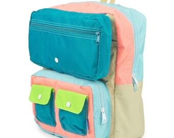 Faux Roll Top Backpack Teal/Aqua