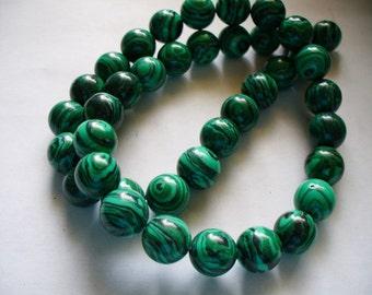 Synthetic Round Beads Malachite 10MM