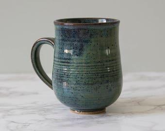 Coffee Mug, Dad Mug, Green Blue Pottery Mug, Pottery Gift, Stoneware Mug, Ceramic Handmade Mug, 10oz Mug, Gift for Wife, Stocking Stuffers