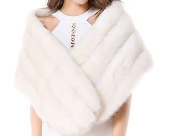 Faux fur ivory or grey Bridal Wrap