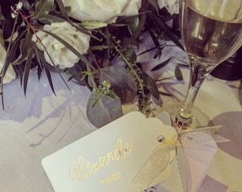 Hand-penned calligraphy wedding place cards