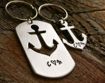 Anchor Keychain Gift Set Couples Gift You Are My Anchor Dog Tag Set Hand Stamped Anchor Keychain Anniversary gifts for girlfriend wife