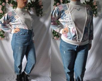 Vintage 80s Mock Turtleneck Shirt Vintage Floral Grandma Top 80s Quirky Graphic Shirt 80s New Wave Blouse Vintage Golden Girls Sweatshirt