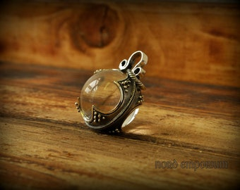 Gotland Rock Crystal Pendant, Sterling Silver & Rock Crystal diameter of 26mm, Viking Woman jewelry