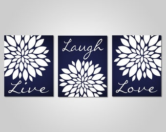 Navy Blue Flower Wall Art   Live Laugh Love   Bedroom Dandelion Art   Navy  Decor