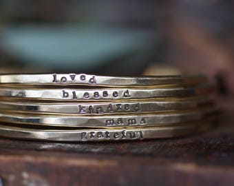 skinny stacking personalized cuff bracelet Golden Brass Hand Stamped thin hammered personalized cuff bracelet