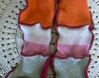Patchwork arm warmers upcycled pure wool wrist