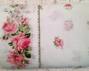 Vintage Full Flat Sheet with Pink Roses - Marvelaire by Springmaid - Pink & Green Floral on White - Full Flat - Pink Roses