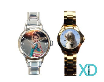 Custom Stainless Steel Watch, Photo Watch, Personalized Watch, Monogram Watch, Custom Watch, Custom Gift, Gift For Dad, Gift For Mom, Clock