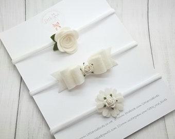 White Baby Headband Set - Baby Headbands and Bows - Baby Headbands - Hair Bow Set  - Baby Bows -Newborn Headband  - Girls Hair Accessories