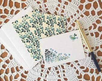 Mini message card with envelopes set, illustrated message cards set, green bird and botanical message cards