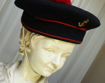 """Authentic Vintage French Naval Marines Sailor Hat """"Bachi"""" original French Military Hat. Navy Hat. French Beret. Sailor Hat. Naval Hat/ Cap"""