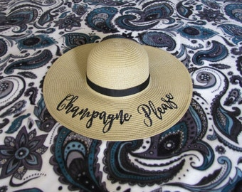 Champagne Please Beach Hat, Floppy Hat, Bachelorette Party, Honeymoon, Shower Gift, Girls Weekend,