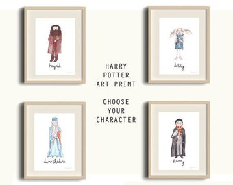 Harry Potter Character Print - Choose Your Character - Dobby, Hagrid, Dumbledore, Voldemort, Hermione Granger, Ron Weasley, Luna Lovegood