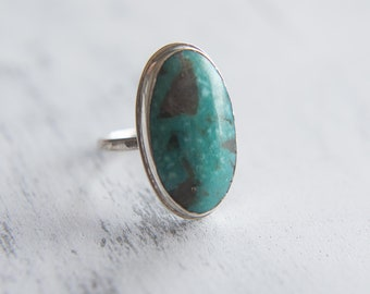 Turquoise Statement Ring, Sterling Silver Ring, Bespoke Ring, Turquoise Stone, Crystal Ring, 925 Silver, Handmade, Boho Ring, UK M, US 6