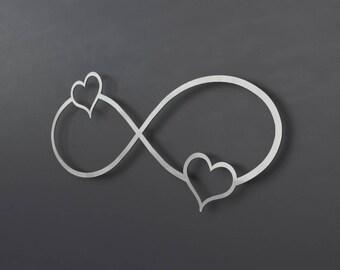 2 Hearts Infinity Symbol Metal Wall Art, Infinity Wall Decor, Wedding Gift, Anniversary Gift, Silver Wall Decor, 3D Wall Sculpture, Modern