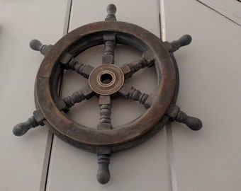 Rustic Wheel Helm in Gray Hand Distressed Mango Wood Brass Hub Nautical Decor Variety of colors available