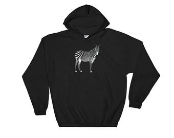 Zebra Hoodie, Zebra Sweatshirt, Zebra Sweater, Zebra Clothes, Zebra Tops