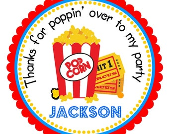 Popcorn stickers, Carnival Birthday Party, Personalized Stickers or Tags, Boc of Popcorn -Set of 12