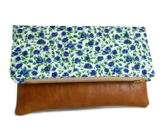 SALE - Liberty of London - Foldover Clutch - Ricardo's Blooms - Blue Colorway - Envelope Clutch