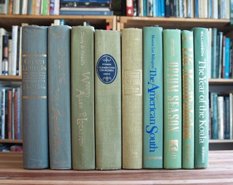 Collection of nine decorative hardcover books in green bindings - Free US Shipping
