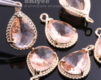 6pcs-19mmX12mmGold Faceted tear drop glass with rope rim pendants-Peach(M316G-N)