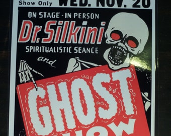 Dr. Silkini Spook Magic Stage Show ACT Event Poster Ad Window Card Advertisement 50s Vintage Print / ARt / Illustration / Reproduction
