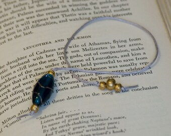 Aqua and brass beaded bookmark, hardback size
