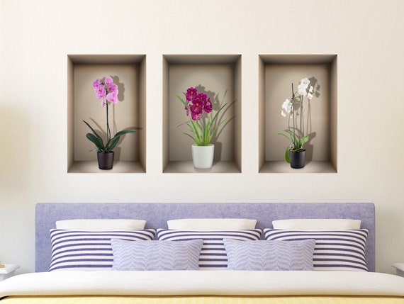 orchid es de d calque de mur niche 3d pour salon chambre. Black Bedroom Furniture Sets. Home Design Ideas