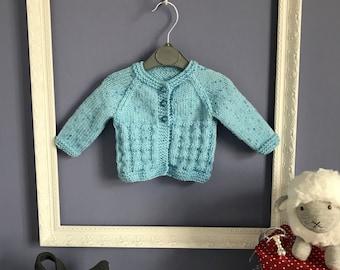 Hand Knitted Newborn Baby Boy Cardigan