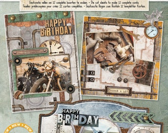 Industrial 2 Card Making and Scrapbooking Kit from Studiolight, Vintage Style Crafts Kit for Mens Cards, Steampunk Journal Kit with Die Cuts