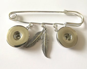Brooch safety pin feathers Snap button jewelry