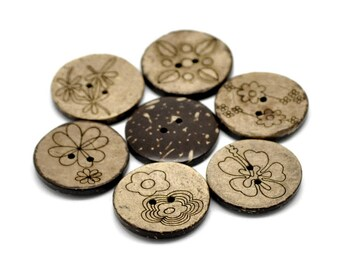 Coconut sewing buttons - 6 Mixed Patterns craft buttons 30mm