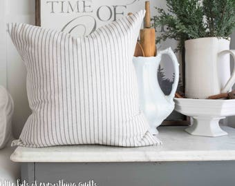 Gray Ticking Stripe Farmhouse Pillow Cover  20 Inch