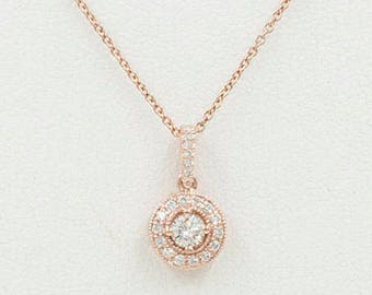 Diamond Cluster Necklace/Women's 14k Gold Necklace/Diamond Bezel  Necklace/0.28Ct. Brilliant Round Cut Halo Diamond Necklace/Dainty Necklace