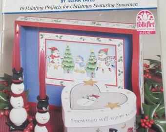 "Plaid Folk Art Decorative book ""Snowmen Merry and Bright "" by Tasha Yates 36 pages 2000 used book"