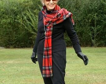 Red Stewart Plaid Anti Pill Fleece Scarf, Muffler, Neck Scarf or Blanket Scarf with Fringe--Lightweight Warmth--One Size
