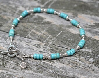 Turquoise Heishi Beads Hill Tribe Silver Beaded Bracelet - Handstrung - Hill Tribe Toggle Clasp Turquoise Bracelet